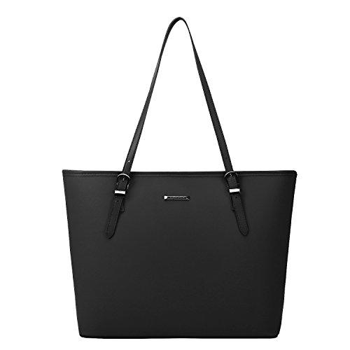 ECOSUSI Women's Top Handle Handbags Purse Tote Shoulder Bag, Black