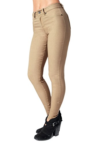 (Bebop Womens Khaki, Large, Skinny Leg Fleece Lined Stretch Pants)