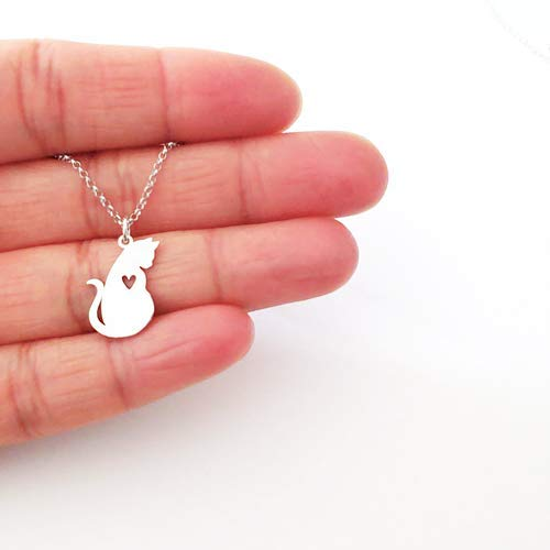 Sterling Silver Mom Cat Charm Necklace 18