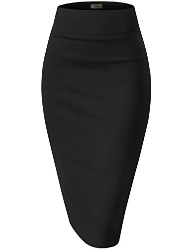 Womens Premium Stretch Office Pencil Skirt KSK45002 Black Large ()