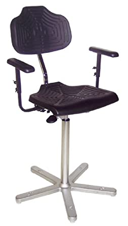 "Milagon Brio 12 Series WSP1211 Polyurethane Foam Seat on Cast Aluminum Star Base Chair with Glides, High Profile, 24""-34"" Adjustment Height"
