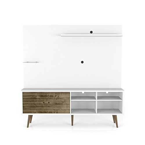 Manhattan Comfort 214BMC69 Liberty Complete Living Room Entertainment Center and T Stand, White/Rustic Brown Review