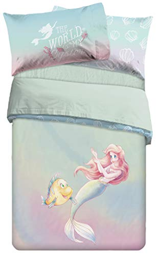 Jay Franco Disney The Little Mermaid Rainbow Full Duvet Cover & Pillowcase Set - Super Soft Kids Reversible Bedding Features Ariel - Fade Resistant Polyester Microbfiber (Official Disney Product)