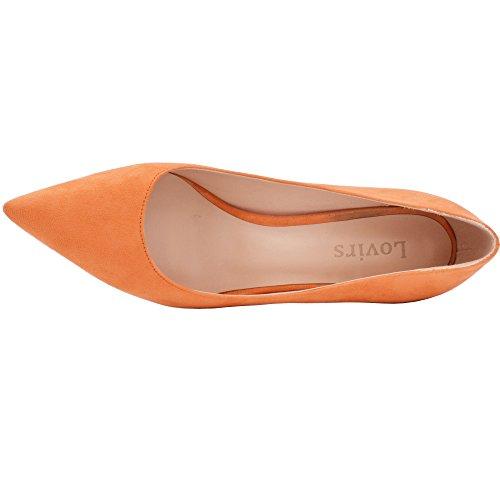 Lovirs Ufficio Da Donna Basic Slip On Décolleté Tacco Medio A Punta Tacco Medio In Camoscio Arancione