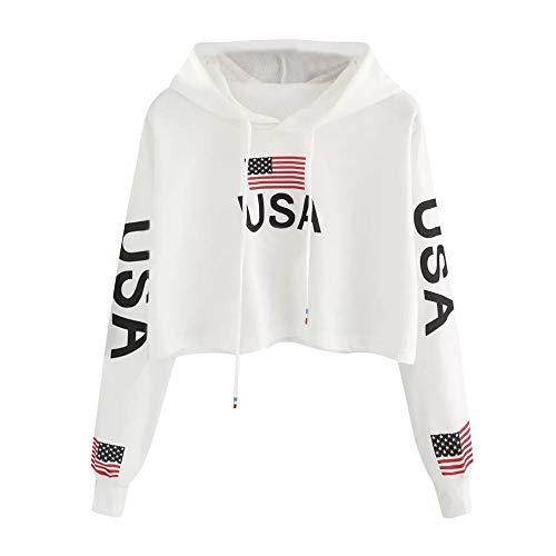 Hurrybuy Crop Top Hoodie for Women USA Sweatshirt White Casual Drop Shoulder American Flag Print Top - Apparel Wholesale T-shirts American