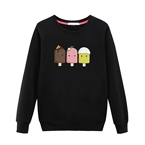 GOWOM Women Casual Long-Sleeved Japan Korean T Shirt Printed with Round Collar Blouse(Black,XX-Large)