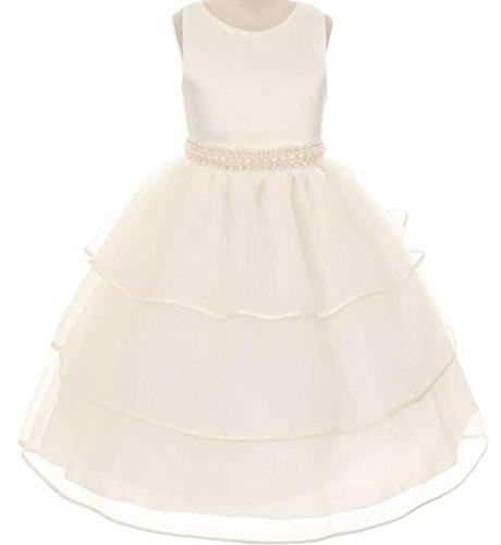 AkiDress Tulle & Fabulous Satin Flower Girl Dress for Little Girl Ivory -