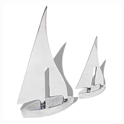 K&A Company Sculpture & Statue, Two Piece Sailing Boat Decoration Aluminum Silver