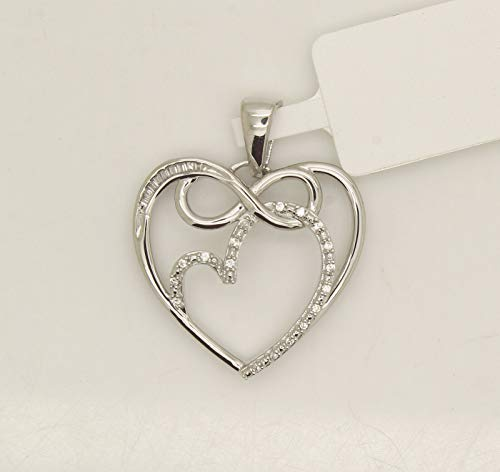 OMEGA JEWELLERY 0.10CT Round & Baguette Diamond Infinity Double Heart Pendant 14K White Gold Over
