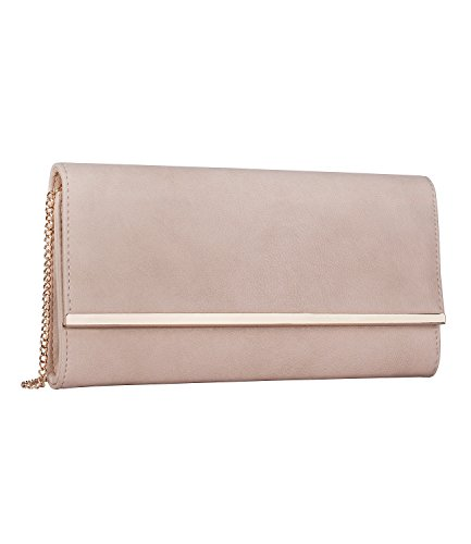 SIX Pochette, Clutch in Nude mit roségoldenen Highlights, Party (427-211)