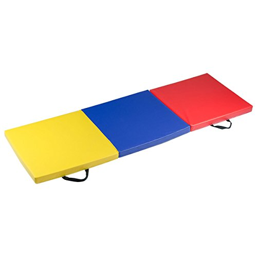 oldzon Exercise Mat 6′ x 2′ x 2 Portable Tri-fold PU Gymnastic Aerobics Gym Fitness with Ebook