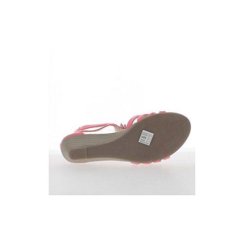 Braune Keil Sandaletten kleine 5cm Heel und Strass dünne Flansche