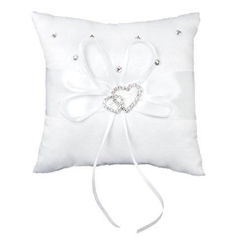 Hochzeit Ringkissen 15cmx15cm Weiß Doppel Herz Kristall Strass