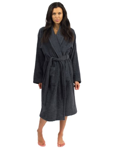 TowelSelections Terry Cloth Bathrobe - Shawl Collar Terry Robe for Women and Men, 100% Turkish Cotton, Made in Turkey (Charcoal, L/XL)