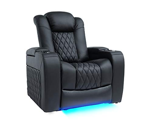 Valencia Tuscany Top Grain Nappa Leather Power Reclining, Power Lumbar, Power Headrest Home Theater Seating (Single Seat, Black)