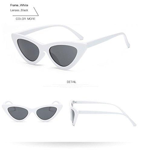 Soleil Femelle Cat Black White Technolog Rétro Eye De Qbling Designer Lunettes Brand Frame Vintage Uv400 Femmes XHgT7