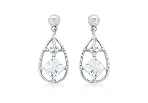 Boucles d'oreilles pendantes Femme-Aigue-marine or blanc 9carats