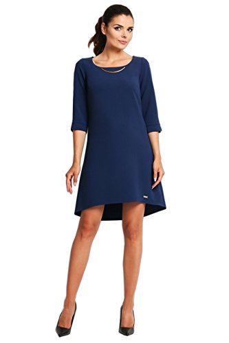 Kleid Marineblau Schmuckakzent mit Elegantes Awama trapezförmiges ExXwqYZZP
