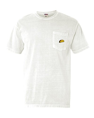 Go All Out Medium White Adult Taco Embroidered Short Sleeve Pocket T-Shirt