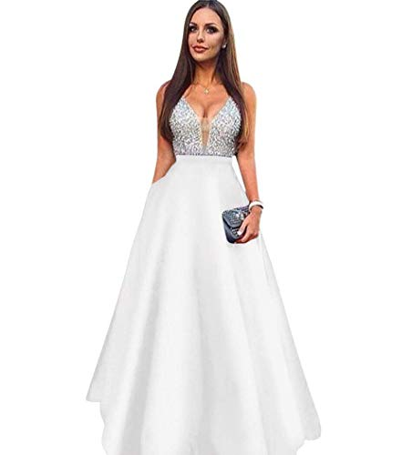 25be7f2ead Sweetdress V-Neck Beaded Crystal Prom Dresses 2018 Long Satin Evening Gown