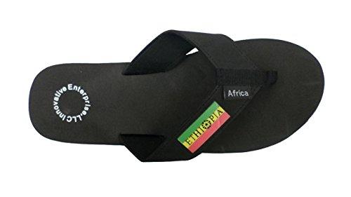 Hommes Et Femmes Ethiopia Afrique Flip Flop Sandale Noir