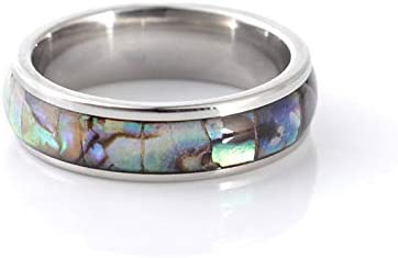 WLLAY Nature Tungsten Carbide Ring Gold Silver Engagement Wedding Band Abalone Shell Inlay Rings for Women/&Men