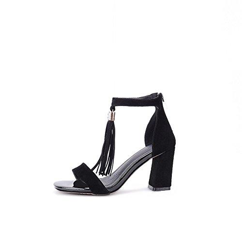 Adee Mujer con Flecos. Sólida de poliuretano Sandalias Negro - negro