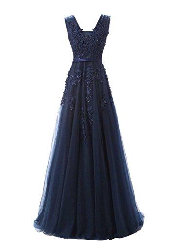 jydress de la mujer cuello en V apliques de tul largo vestido de noche sin espalda Formal Prom Fiesta Azul marino