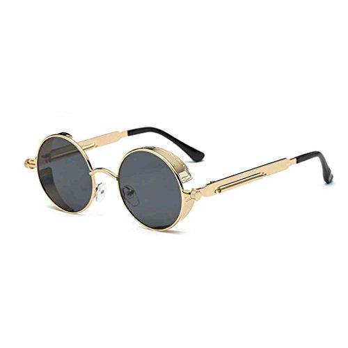 Hombre Negro Marco Redondo Metal de de Las de UV400 del Steampunk Aiming Sol Oro Lentes Mujer Gafas Eyewear 0w8q55a
