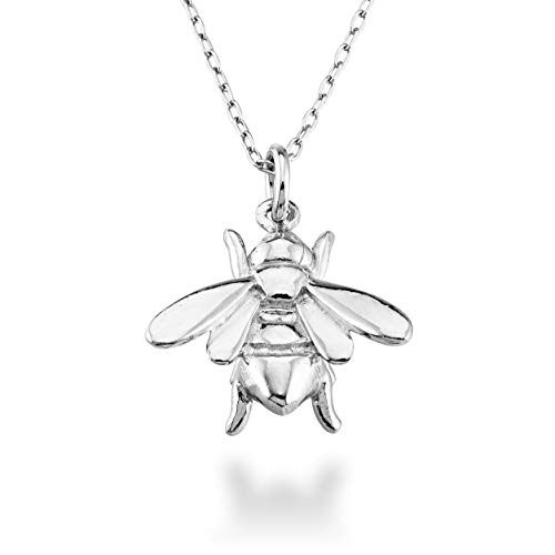 MiaBella 925 Sterling Silver Italian Bee Charm Pendant Necklace Jewelry for Women Teen Girls, Choice of White or 18K Yellow Gold Over Silver, 18