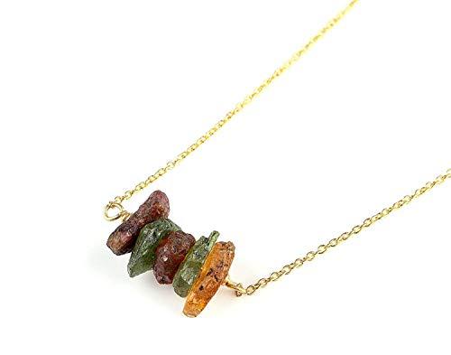 14K Gold Filled Natural Raw Multi Color Tourmaline Slices Gemstone Handmade Pendant Necklace Silver Dainty - Color Tourmaline Multi Necklace