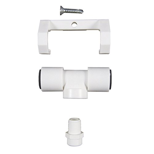 5 White Plastic Tee Assembly w/ 3/8″ Push in-1GPH Nozzle W/Poly Filter