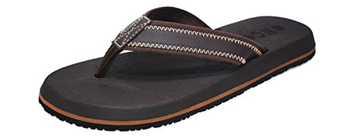 Athletic Waterproof Heels - ONCAI Mens Sandals Flip Flops Athletic Cushion Footbed Waterproof Brown