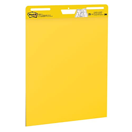 Post-it Super Sticky Easel Pad, 25 x 30 Inches, 25 Sheets/Pad, 3 Pads (559YW-3PK), Large Bright Yellow Premium Self Stick Flip Chart Paper, Super Sticking Power by Post-it (Image #1)