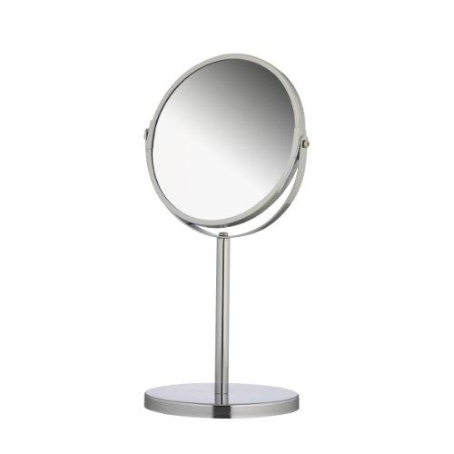 Axentia 282801 Vergrößerungs-Standspiegel, Kosmetikspiegel, Badezimmerspiegel verchromt, rund ca. 17 cm Ø, 3-fache Vergrößerung, Rasierspiegel ideal für alle Feuchträume, Höhe ca. 34,5 cm