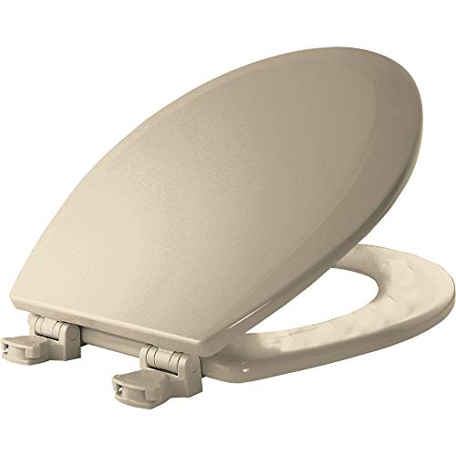 (Bemis 500EC 146 Wood Round Toilet Seat With Easy Clean & Change Hinge, Almond)