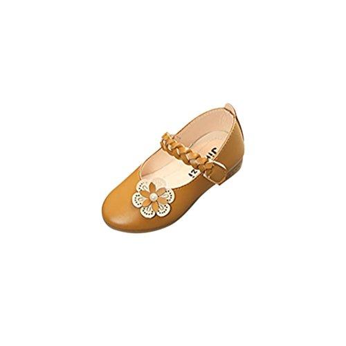 TPulling Mode Sommer Und Frühling�?T-8.5T﹜Kinder Mode Mädchen﹛Geflochten Blumen Perlen﹜Leder Weben Floral Prinzessin Sandelholz Weichen Schuhe Turnschuhe Lässige Einzelne Schuhe Gelb