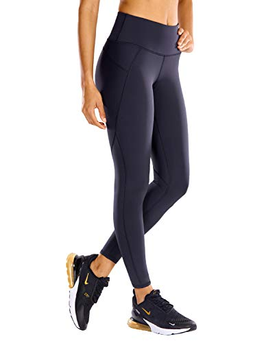CRZ YOGA Non See-Through Mid Rise Athletic Compression Leggings for Women 7/8 Hugged Feeling Workout Running Tights-25 Inches Navy 25