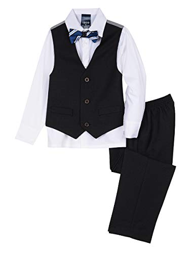 - Izod boys 4-Piece Vest Set with Dress Shirt, Bow Tie, Pants, and Vest, Black, 4T