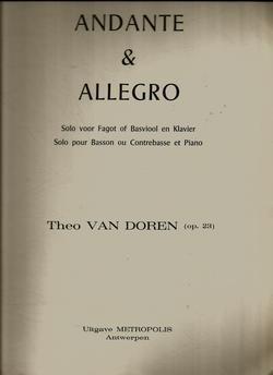 Theo Van Doren Andante & Allegro for Bassoon / Contrebasse & Piano Op.23