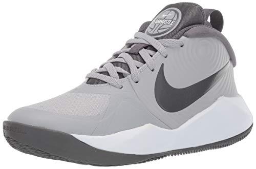 Nike Unisex Team Hustle D 9 (GS) Sneaker, wolf grey/dark grey - white, 4Y Regular US Big Kid