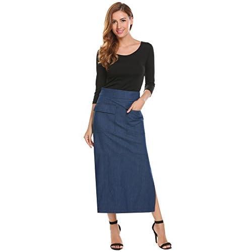 a08e0b9ad Shine Women's High Waisted A-Line Maxi Long Blue Jean/Denim Skirts on sale
