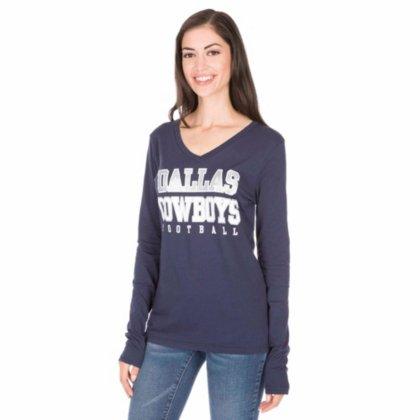 cafab3f6 Dallas Cowboys Women's Long Sleeve Navy Practice Glitter V-Neck T-shirt  Medium