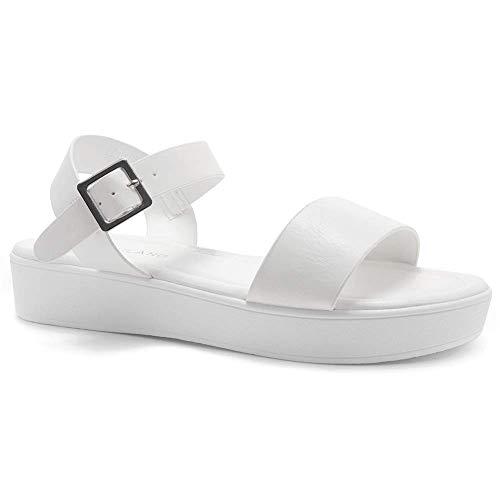 Herstyle Carli Women's Open Toe Ankle Strap Platform Low Wedge Sandals White 10.0