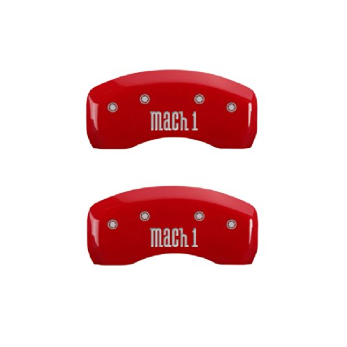 Set of 4 MGP Caliper Covers 10017SMCHRD Mach 1 Logo Type Caliper Cover with Red Powder Coat Finish and Silver Characters,