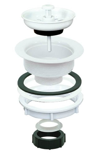 EZ-FLO 30006 Removable Kitchen Sink Basket Strainer Stopper Drain Assembly Kit, Economy White ABS Body, 3-1/2-inch to 4-inch Opening