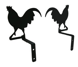 Village Wrought Iron 6.5 Inch Rooster Curtain Swags