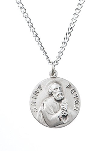 Sterling Silver Saint St Peter Dime Size Medal Pendant, 3/4 Inch