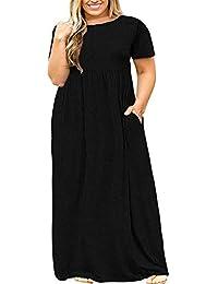Women Short Sleeve Plus Size Long Maxi Dress with Pockets Loose Casual T-Shirt Dress