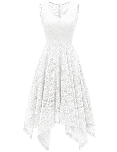 Meetjen Women's Elegant Floral Lace Sleeveless Handkerchief Hem Asymmetrical Cocktail Party Swing Dress White L